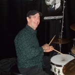 The smilin' Irishman, Mike Fitzpatrick, on the drums