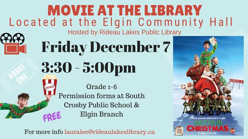 Arthur Christmas Poster.Rideau Lakes Public Library Presents Movie Arthur